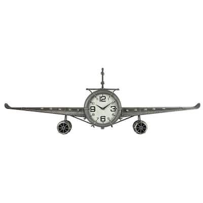 Metal Medium Silver Vintage Fighter Jet Wall Clock