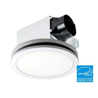 Integrity Series 100 CFM Ceiling Bathroom Exhaust Fan, LED Edge-Lit with Flat Round Panel, ENERGY STAR