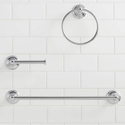 Tennyson 3-Piece Bath Hardware Set with Towel Ring Toilet Paper Holder and 18 in. Towel Bar in Chrome