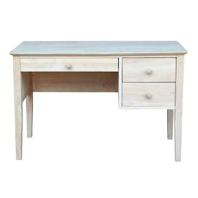Unfinished Solid Wood 46 in. W 3-Drawer Brooklyn Desk