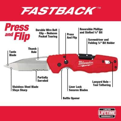 FASTBACK 5-in-1 Folding Knife with 3 in. Blade