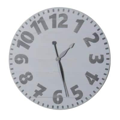 30 in. Oversized Gray Industrial Style Wall Clock