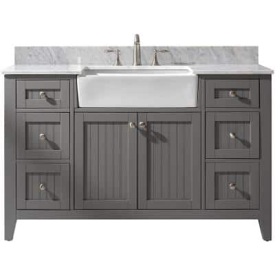 Burbank 54 in. W x 22 in. D Bath Vanity in Gray with Carrara Marble Vanity Top in White with White Basin