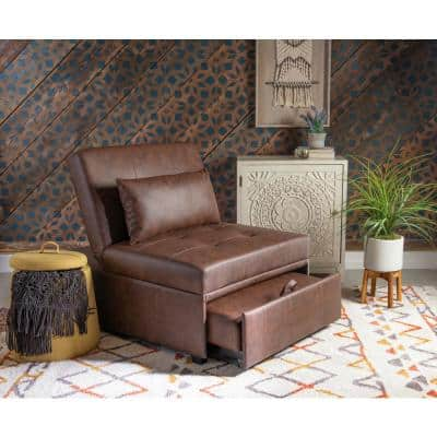 43.8 in. Chestnut Brown Faux-Leather Twin Sleeper Sofa Bed