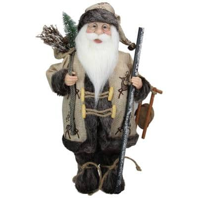 16.5 in. Country Rustic Santa Claus Carrying a Wooden Sled and Sack of Gifts