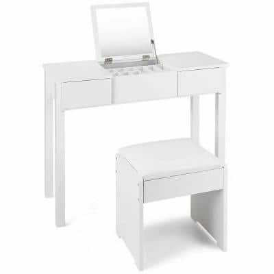 2-Piece White Vanity Dressing Table Set Mirrored Bedroom Furniture With Stool and Storage Box