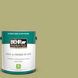 Behr Premium Plus 1 Gal M340 5 Fresh Artichoke Semi Gloss Enamel Low Odor Interior Paint And Primer In One 340001 The Home Depot