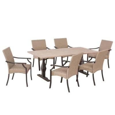 Decosta 7-Piece Steel Patio Dining Set with Padded Wicker Seat