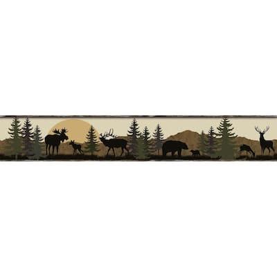 Scenic Silhouette Border Brown Wallpaper Border