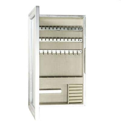 Nicolette Frame Silver Jewelry Armoire - No Drawers and 24 in.H x 13.5 in.W x 3.18 in.D