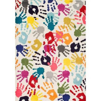 Pinkie Handprint Playmat Multi 7 ft. x 9 ft. Area Rug
