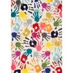 Pinkie Handprint Playmat Multi 9 ft. x 12 ft. Area Rug