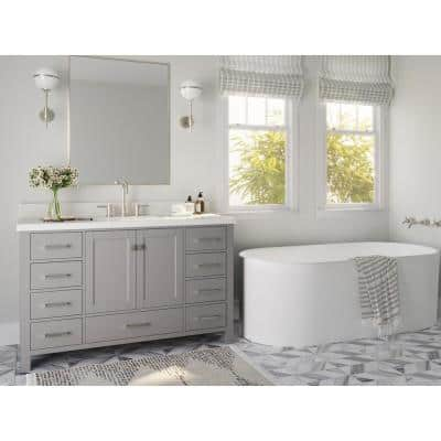 Cambridge 55 in. W x 22 in. D x 35 in. H Bath Vanity in Grey with Quartz Vanity Top in White with White Basin