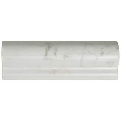 Classico Carrara Glossy London Chair Rail 2 in. x 6 in. Ceramic Wall Trim Tile
