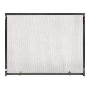 38 in. 1-Panel L Graphite Colonial Flat Fireplace Screen