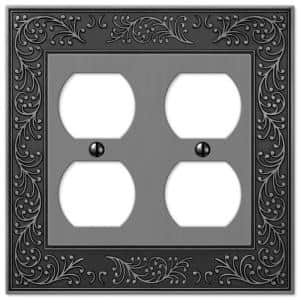 English Garden 2 Gang Duplex Metal Wall Plate - Antique Nickel