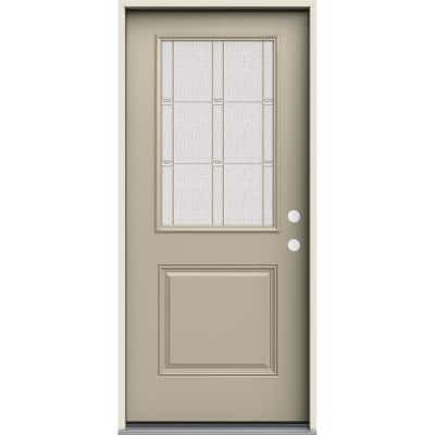 36 in. x 80 in. Left-Hand 1/2 Lite Elizabeth Decorative Glass Desert Sand Fiberglass Prehung Front Door