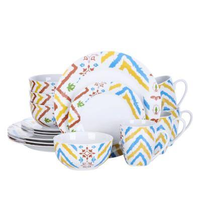 16- Piece Modern Colored Stripes White Porcelain Dinnerware Sets (Service for Set for 4)