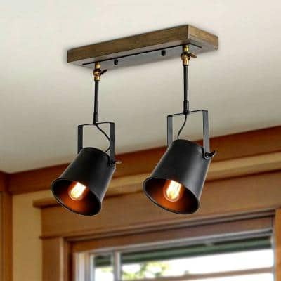 2-Light Farmhouse Track Lighting Industrial Ceiling Spotlight with Wood Canopy