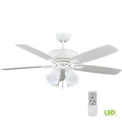 Devron 52 in. Indoor Matte White LED Smart Ceiling Fan with Light and Remote Works with Google Assistant and Alexa