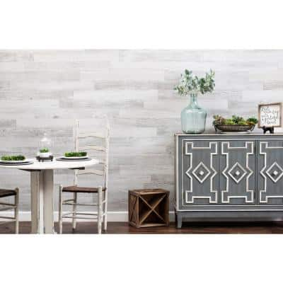 E-Z Wall White Wash 4 in. x 3 ft. Peel and Press Vinyl Plank Wall Decor [20 sq. ft. / case]