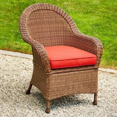 Hacienda Heights Wicker Outdoor Dining Chair with Red Cushion (2-Pack)