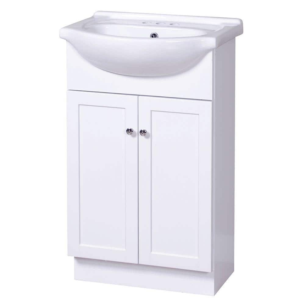 Home Decorators Collection Columbia Euro 21 3 4 In Vanity In White With Vitreous China Vanity Top In White Cowa2135 The Home Depot