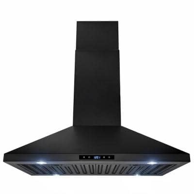 30 in. 343 CFM Convertible Kitchen Island Mount Range Hood in Black Painted Stainless Steel with Touch Control