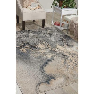 Maxell Grey 5 ft. x 7 ft. Abstract Modern Area Rug