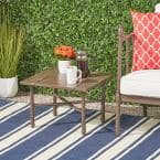 Vienne 14 in. Brown Square Metal Outdoor Side Table