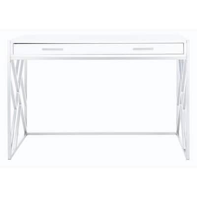 Elaine 43.3 in. White/Silver 1-Drawer Writing Desk
