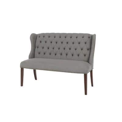 Belcrest Upholstered Tufted Wingback Dining Bench with Charleston Teal Seat (56.3 in. W x 41 in. H)