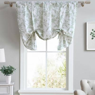 Natalie 50 in. L x 25 in. W Cotton Floral Tie Up Valance in Light Green