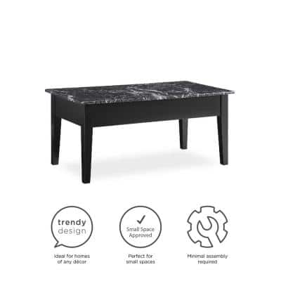 Erna 40 in. Black Large Rectangle Particle Board Coffee Table with Lift Top