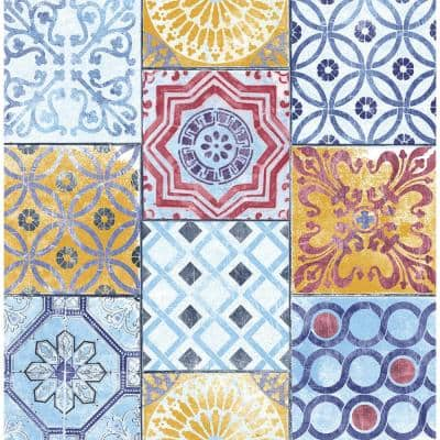 Colorful Moroccan Tile Vinyl Peel & Stick Wallpaper Roll (Covers 30.75 Sq. Ft.)