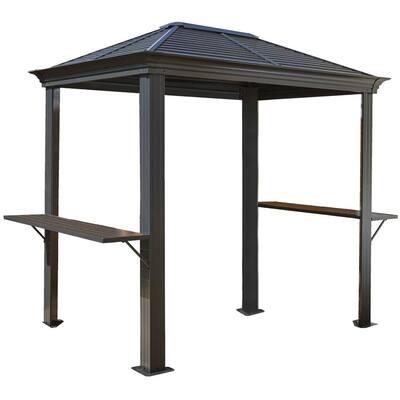 Mykonos 5 ft. x 8 ft. Aluminum Grill Shelter in Dark Gray
