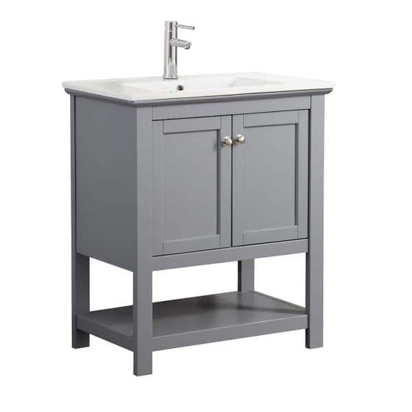 Fresca Bradford 30 In W Traditional Bathroom Vanity In Gray With Ceramic Vanity Top In White With White Basin Fvnhd0105gr Cmb The Home Depot