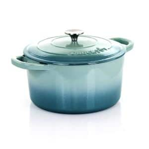 Artisan 7 qt. Round Cast Iron Nonstick Dutch Oven in Aqua Blue with Lid