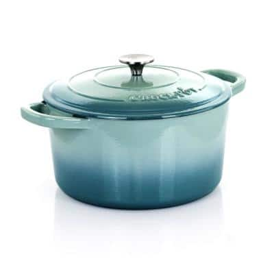Artisan 7 qt. Round Cast Iron Nonstick Dutch Oven in Aqua Blue with Lid
