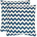 Tealea Navy Blue Striped Down Alternative 18 in. x 18 in. Throw Pillow (Set of 2)