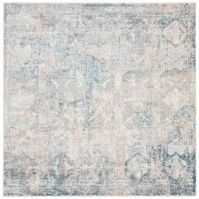 Dream Gray/Blue 7 ft. x 7 ft. Square Geometric Distressed Area Rug