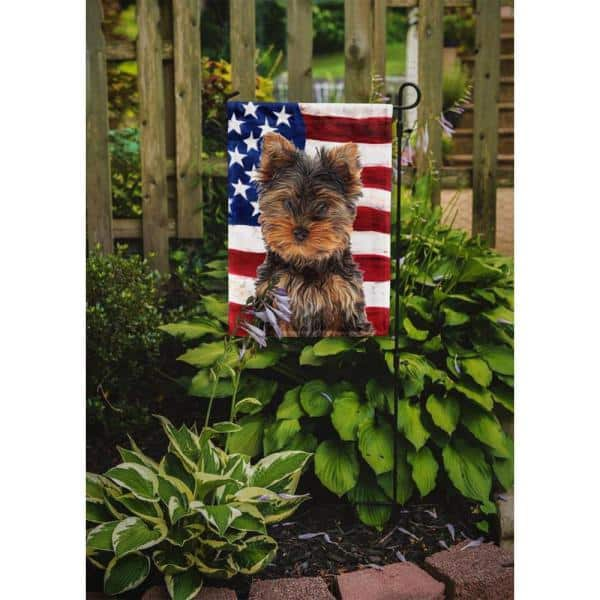 Caroline S Treasures 0 91 Ft X 1 29 Ft Polyester Usa American Flag With Yorkie Puppy Yorkshire Terrier 2 Sided 2 Ply Garden Flag Kj1160gf The Home Depot