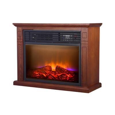4600 BTU Vintage Oak Finish Electric Fireplace with Quartz Infrared Heating Technology
