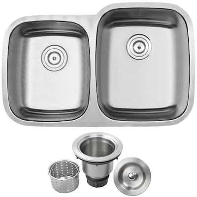 Haven Undermount 16-Gauge Stainless Steel 32.25 in. Double Basin Kitchen Sink with Basket Strainer