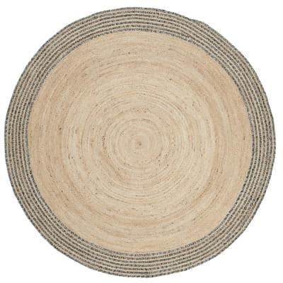 Cape Cod Ivory/Steel Gray 9 ft. x 9 ft. Striped Border Solid Color Round Area Rug