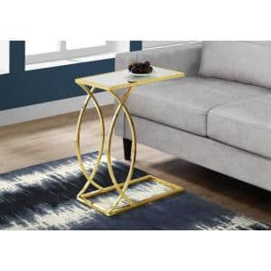 Mirrored Accent Table with Gold Metal Base