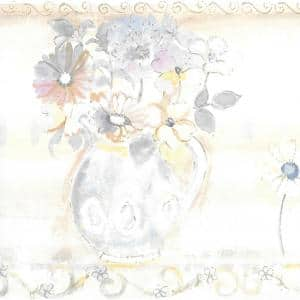 Falkirk Brin Pastel Flowers In Vases Pink, Yellow, Blue, Green Wallpaper Border