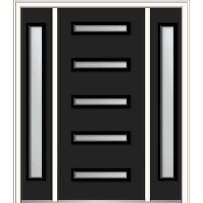 68.5 in. x 81.75 in. Davina Right-Hand Inswing 5-Lite Frosted Modern Painted Steel Prehung Front Door with Sidelites