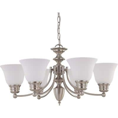 6-Light Brushed Nickel Chandelier with Frosted White Glass Shade