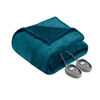 62 in. x 84 in. Heated Microlight to Berber Teal Twin Blanket